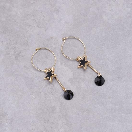 Embellished Hoop Earrings with Star Danglers