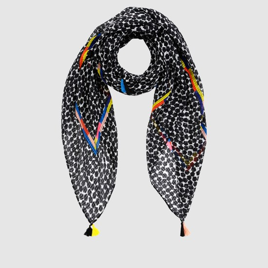Printed Rectangle Scarf with Tassels