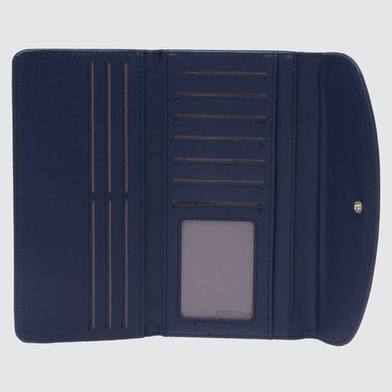 محفظة بارزة الملمس بطيّة ثلاثية وزر إغلاق مغناطيسي