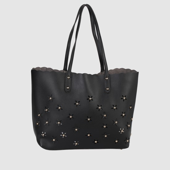 Laser Cut Detail Handbag with Zip Closure