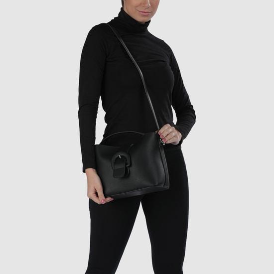 Textured Handbag with Buckle Closure