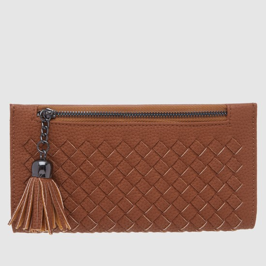 Textured Bi-Fold Wallet with Snap Closure and Tassels