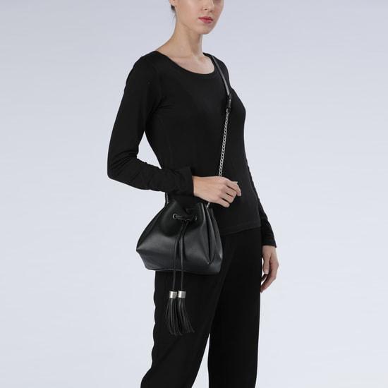 Drawstring Closure Sling Bag with Tassels