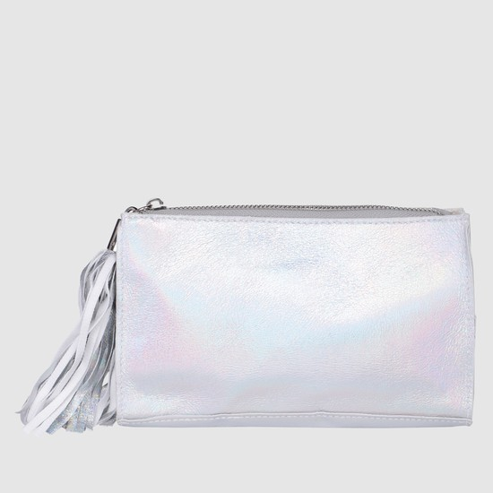 Metallic Pouch with Fringed Detailing