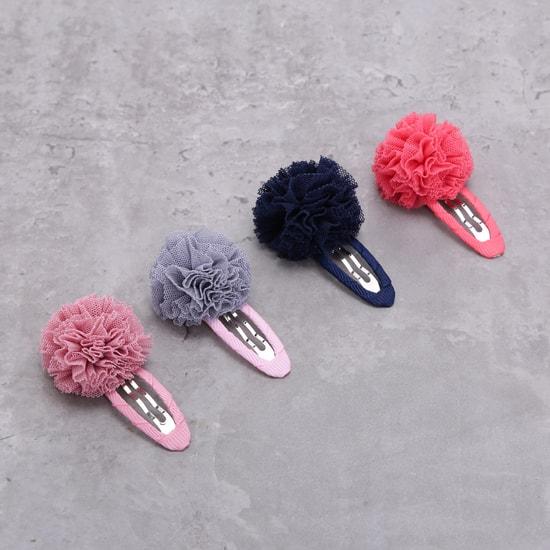 مشبك شعر مزين بالأزهار - طقم من أربع قطع