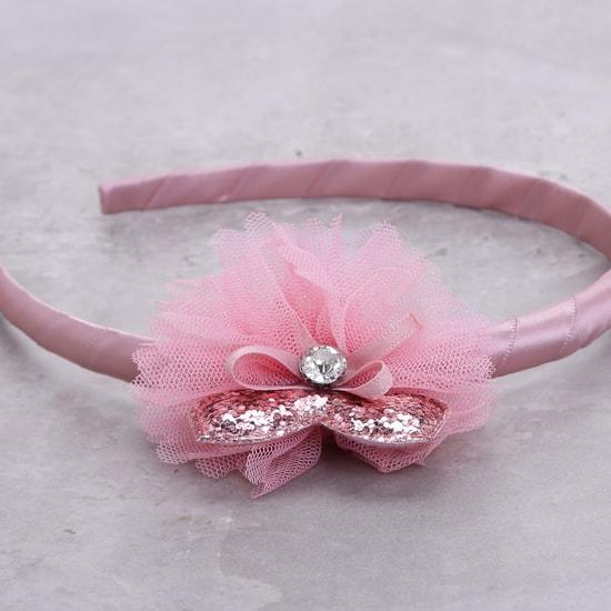 Embellished Hairband with Mesh Detailing