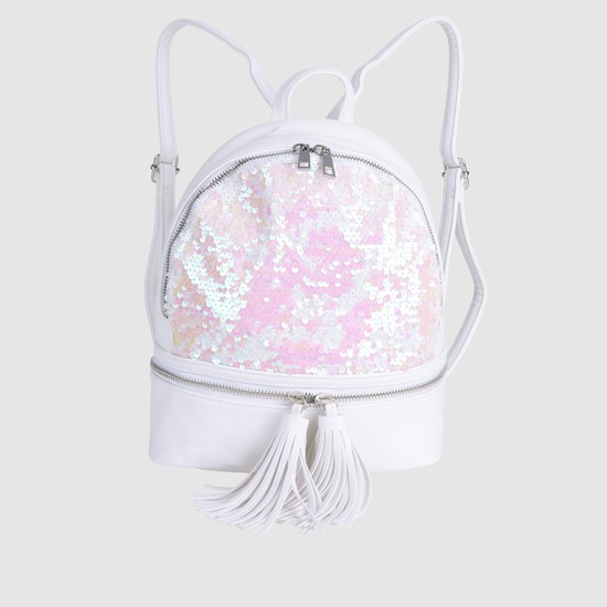 Embellished Backpack with Zip Closure and Tassels