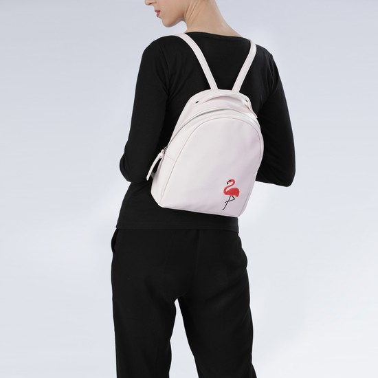 Embroidered Backpack with Zip Closure