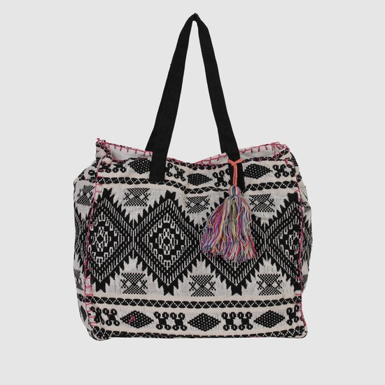 Embroidered Handbag with Snap Closure