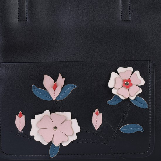 Embroidered Handbag with Magnetic Snap Closure
