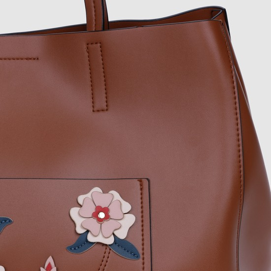 Applique Detail Handbag with Magnetic Snap Closure