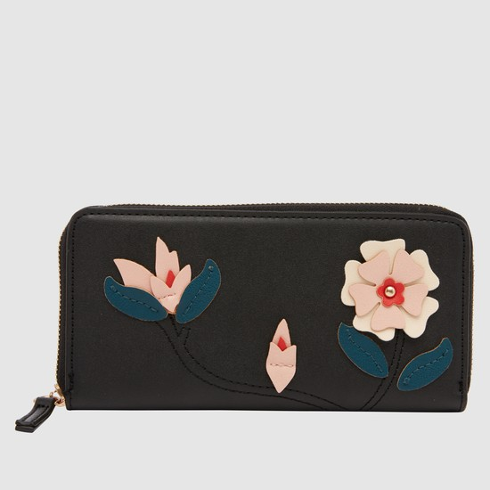 Zippered Wallet with Flower Applique