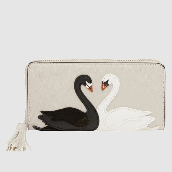 Zippered Wallet with Swan Applique