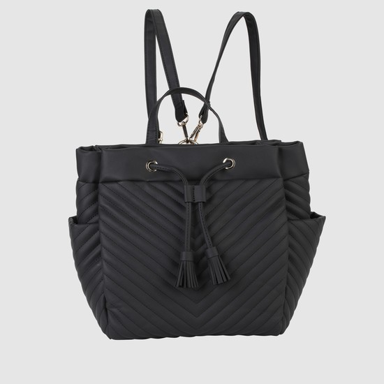 Textured Backpack with Drawstring and Magnetic Snap Closure