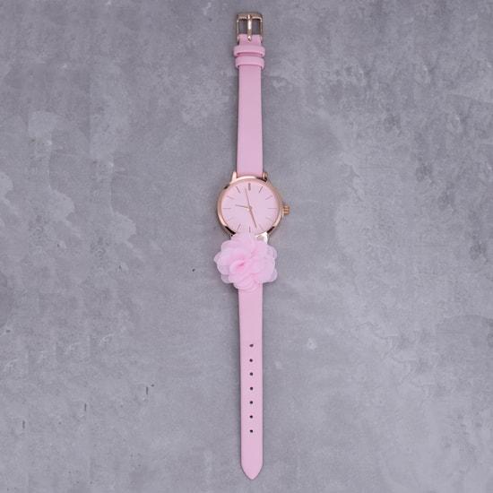 Dual Tone Wrist Watch with Flower Applique