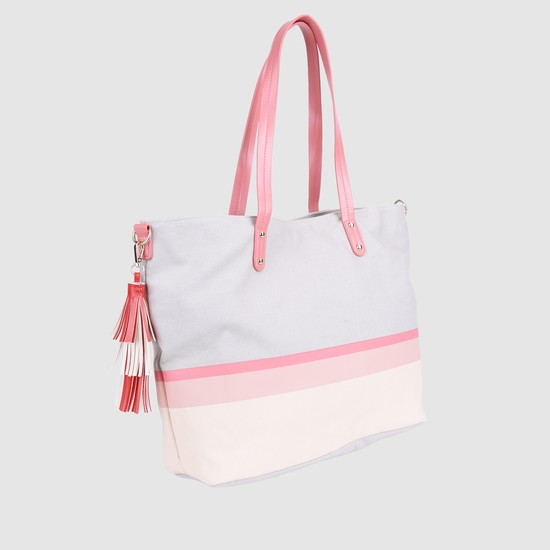 Striped Handbag with Magnetic Snap Closure