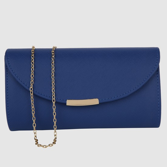 Textured Clutch with Long Chain