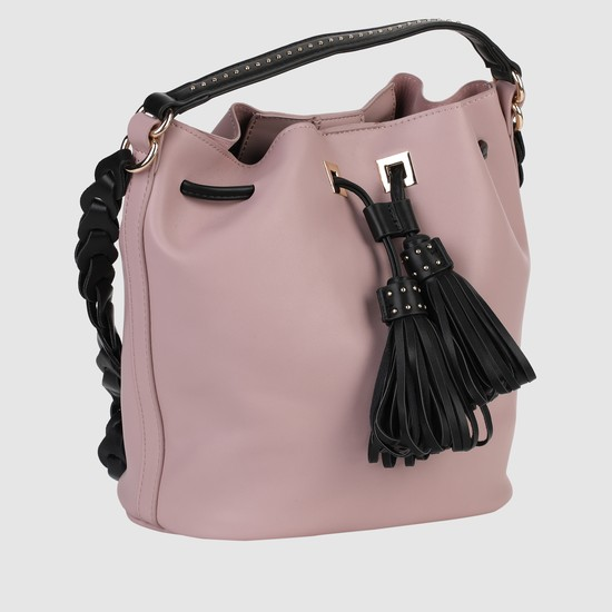 Handbag with Drawstring Clsoure and Tassels
