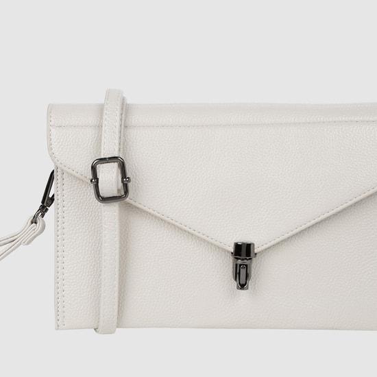 Texture Clutch Bag with Metallic Closure