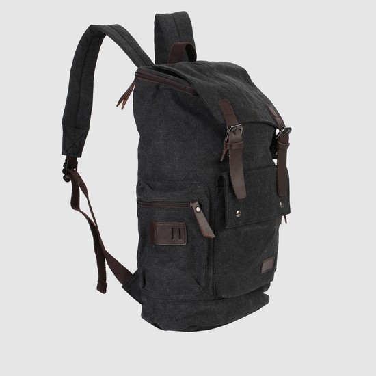 Textured Backpack with Flap and Buckles