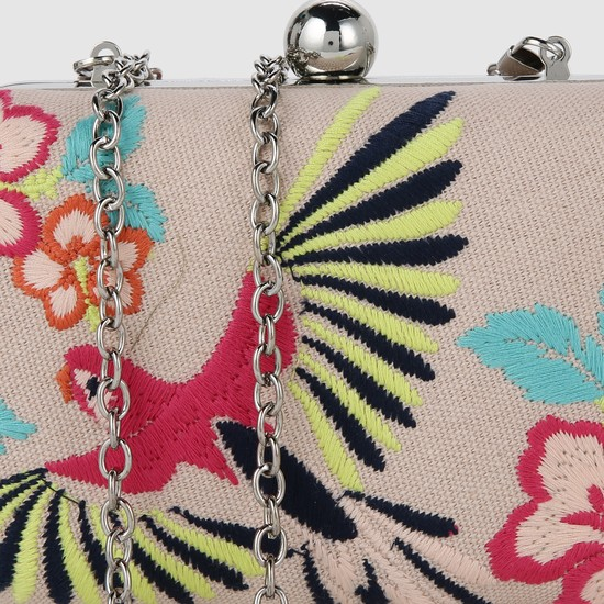 Embroidered Clutch with Chain