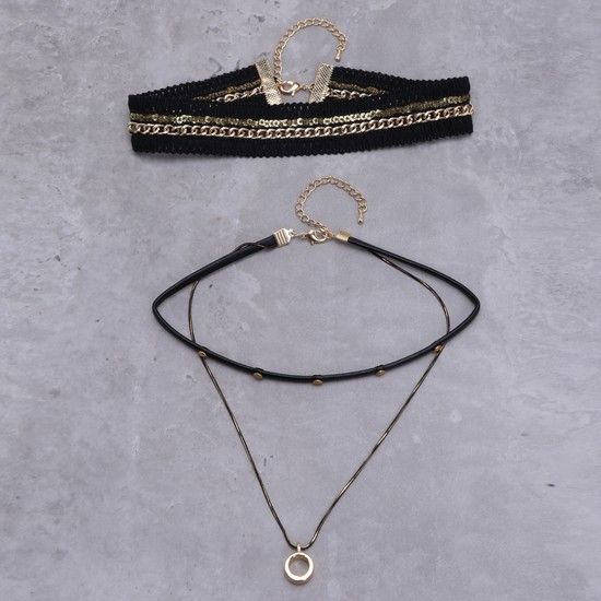 Dual Tone Layered Choker Necklace