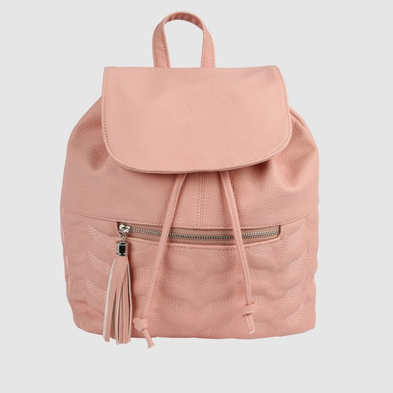 Textured Backpack with Flap and Drawstring