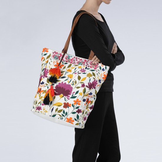 Printed Tote Bag with Embellishments and Zip Closure