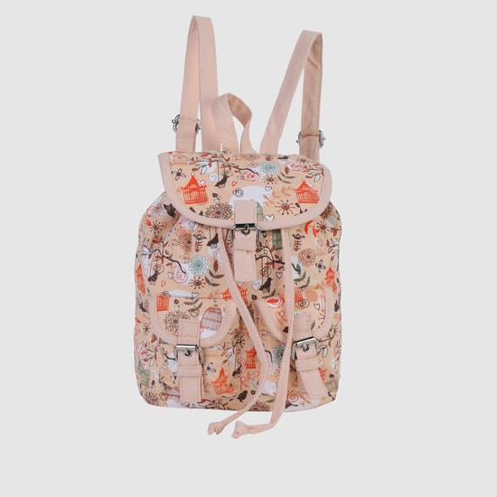 Printed Drawstring Backpack with Flap Closure