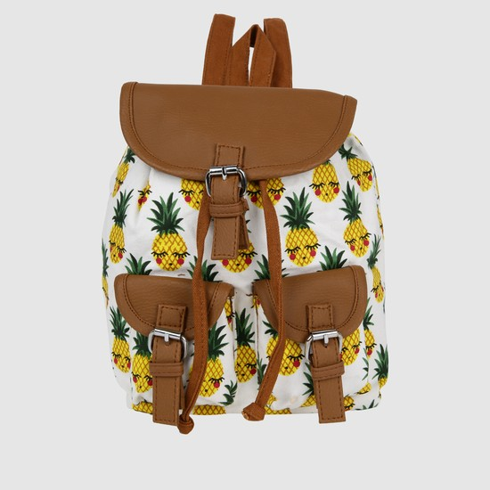 Pineapple Print Bucket Backpack