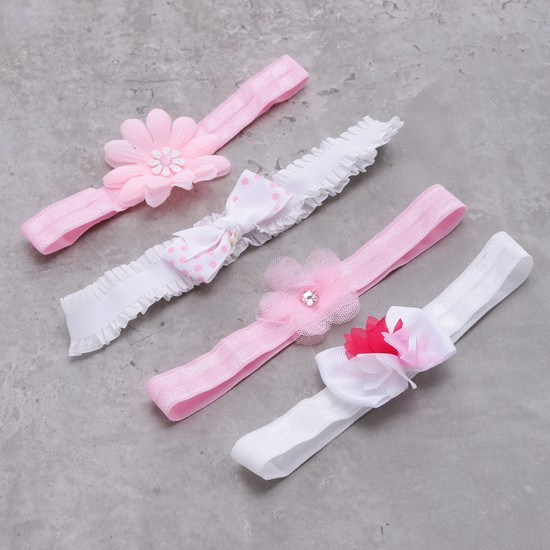 Elasticised Hairband with Applique - Set of 4
