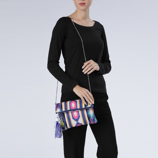 Embroidered Sling Bag with Zip Closure