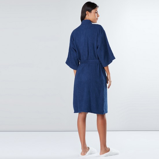 Extra Large Textured Bathrobe with Pocket Detail and Tie Up Belt