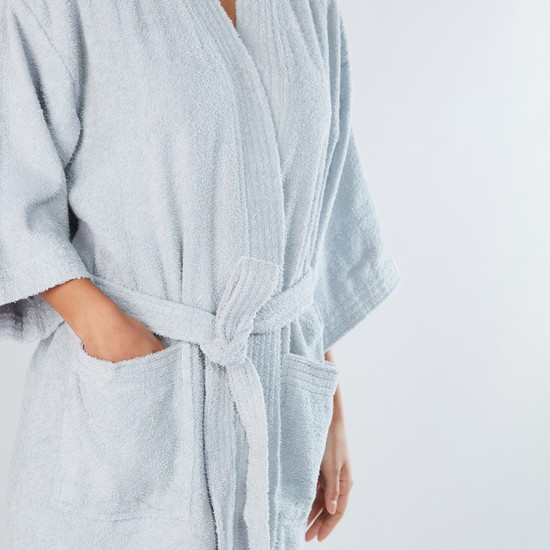 Large Textured Bath Robe with Pocket Detail