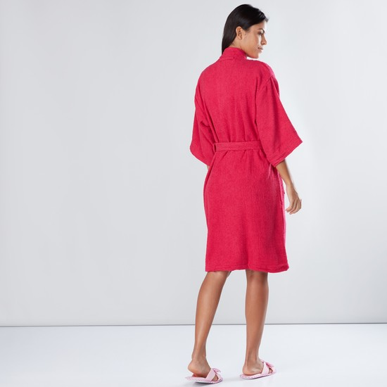 Large Textured Bathrobe with Pocket Detail and Tie Up Belt