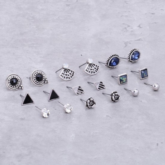 Assorted Earrings with Push Back Closure - Set of 9