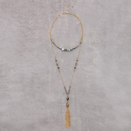 Double Layer Long Necklace with Tassels and Lobster Clasp