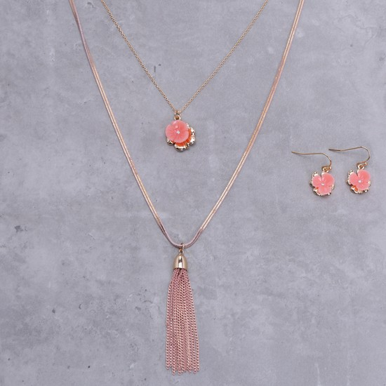 Studded Multi Layer Necklace and Earrings Set