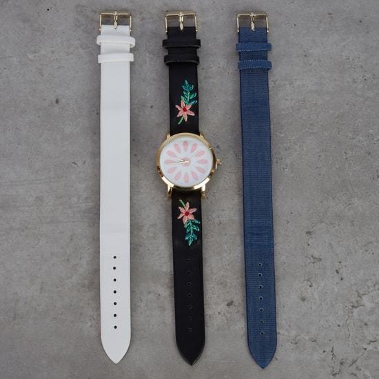 طقم ساعة يد مع 3 أحزمة متنوعة