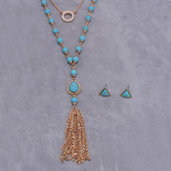 Embellished Layered Necklace and Earrings Set
