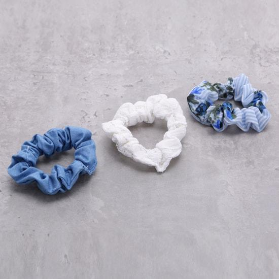 طقم ربطات شعر مطاطية بطيّات ونقوش أزهار - ثلاثة قطع