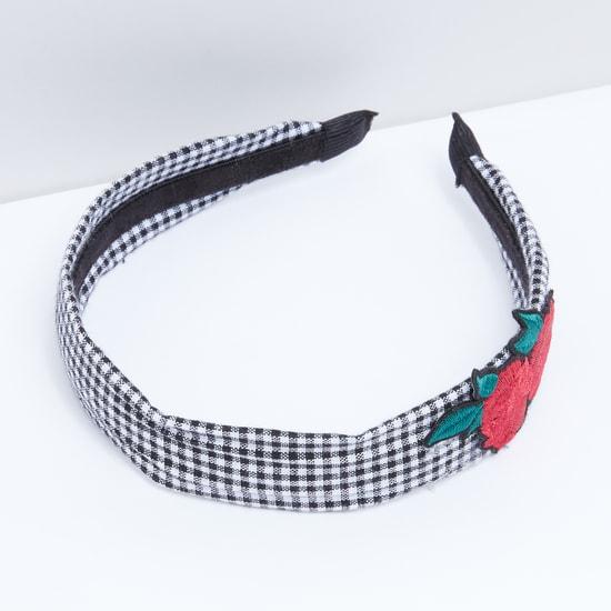 Applique Detail Chequered Hair Band