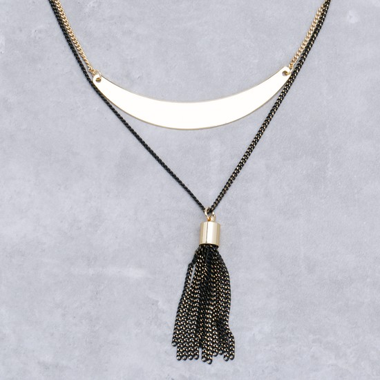 Metallic Long Necklace with Tassels