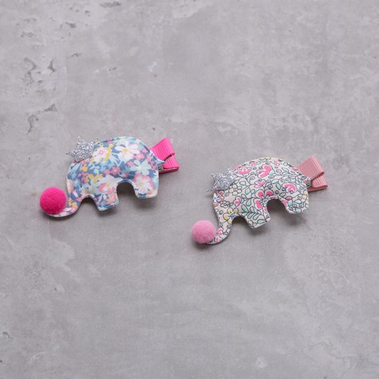 Printed Hair Clip with Pom Poms - Set of 2