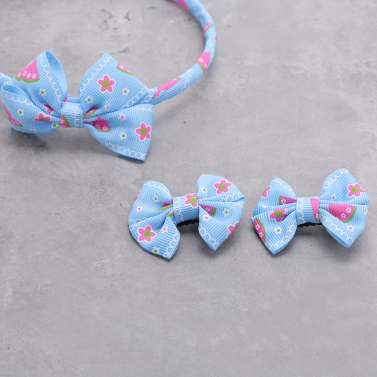 Printed Hairband and Hair Clips Set