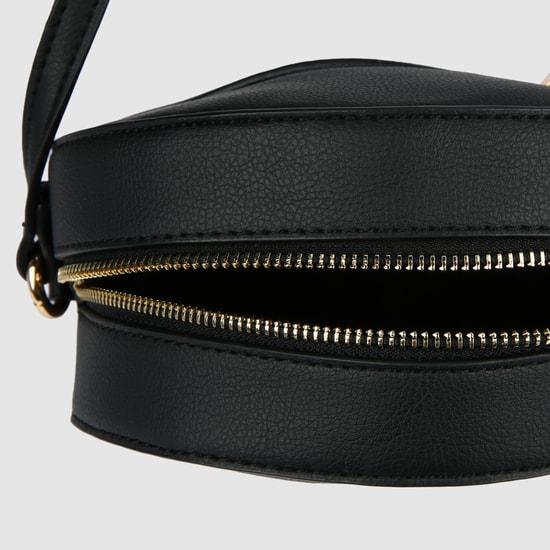 Embellished Sling Bag with Zip Closure