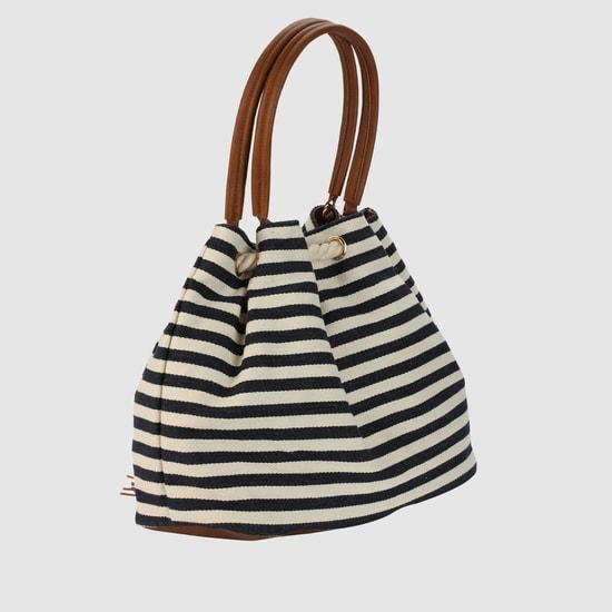 Striped Handbag with Drawstring Closure