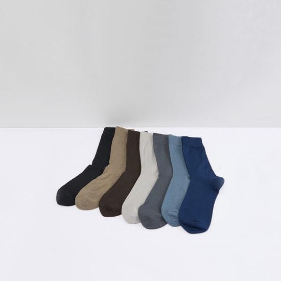 Textured Crew Length Socks - Set of 7