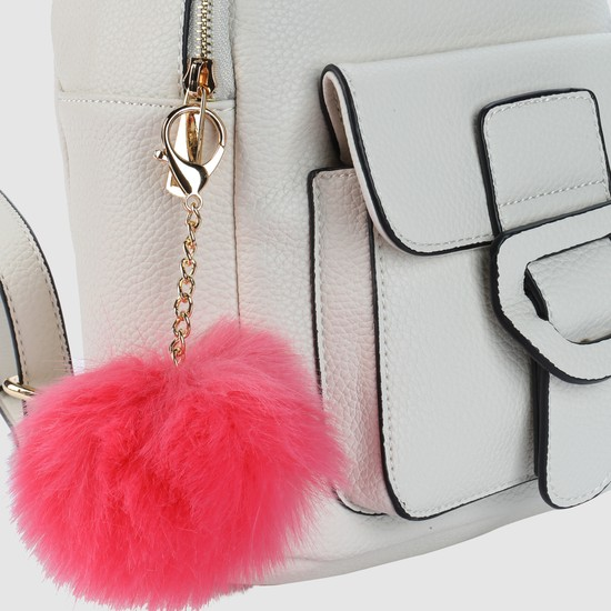 Textured Backpack with Zip Closure and Pom Pom Detail