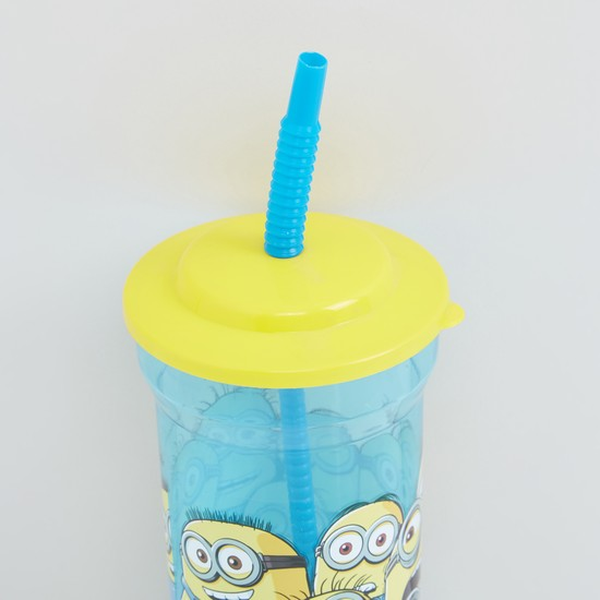 Minions Printed Water Bottle with Straw